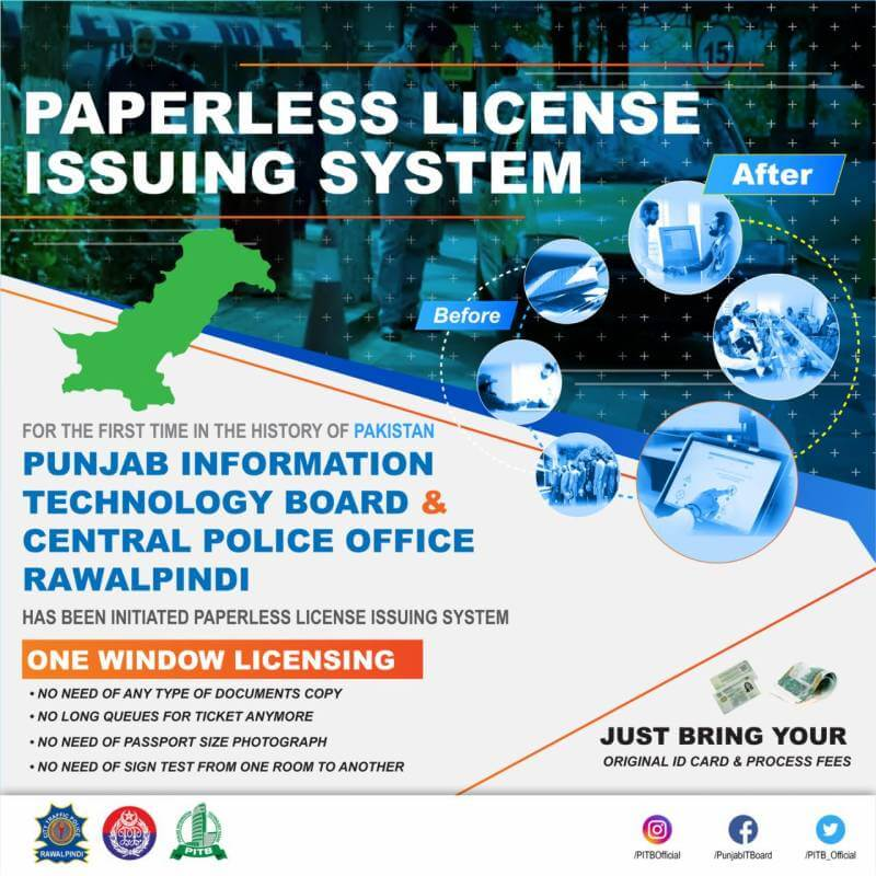 Paperless driving licence issuing system Rawalpindi